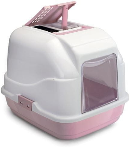 Imac Wewnętrzna toaleta dla kota z filtrem węglowym i łopatką różowa 50