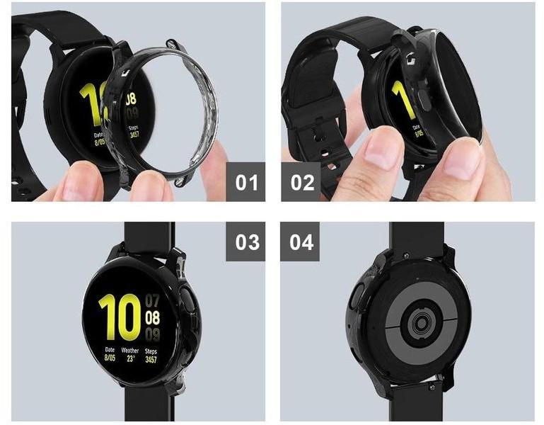 Alogy Etui silikonowe Alogy case do Galaxy Watch Active 2 44mm Czarne + 5x Folia ochronna 039765