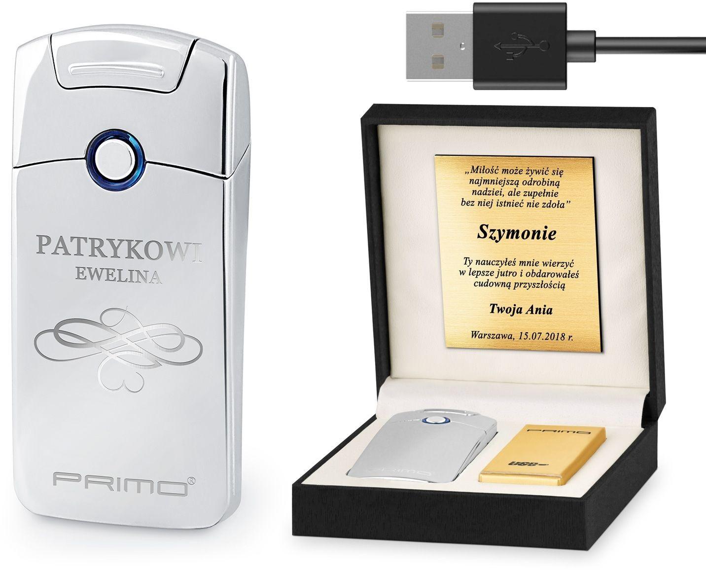 Murrano Zapalniczka Plazmowa USB z GRAWEREM FLORES ZP1-BB-016