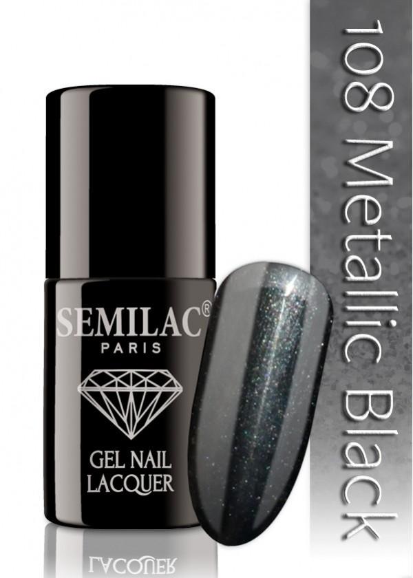 Semilac Lakier Hybrydowy Semilac 108 Metallic Black - 6 Ml 4826