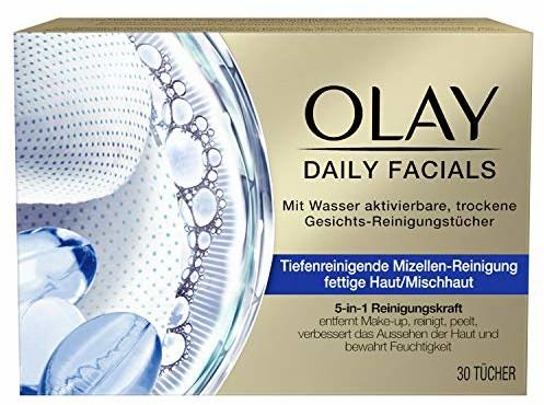Olay Daily Facials 5-w-1 aktywowane wodą, do głębokiego oczyszczania twarzy, cera tłusta/mieszana, pielęgnacja twarzy, 5 w 1, chusteczki do demakijażu, do oczyszczania twarzy, 30 chusteczek