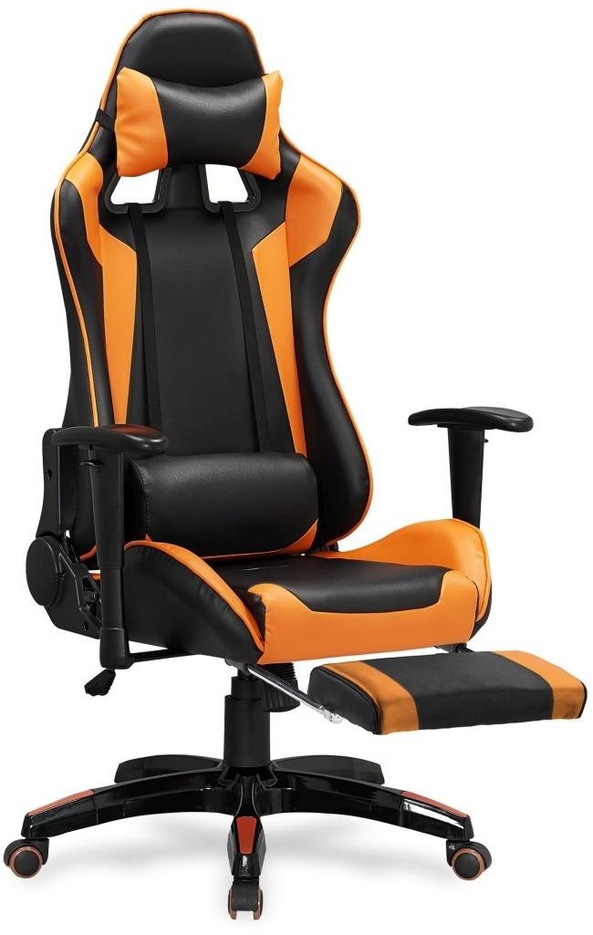 Halmar Fotel gamingowy DEFENDER 2 z podnóżkiem czarny / pomarańczowy Halmar
