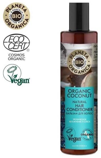 Planeta Organica Organic Coconut Naturalny Balsam do włosów Nawilżemie i blask 280ml