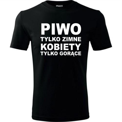 Męska koszulka Męska koszulka - Piwo tylko zimne kobiety tylko gorące mk - piwo tylko zimne kobiety tylko gor