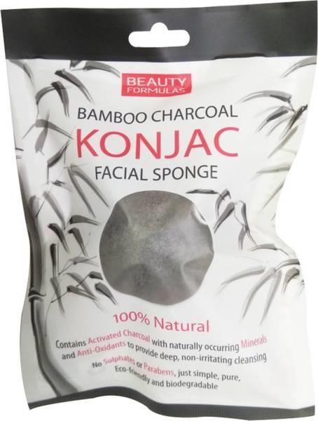 Beauty Formulas Beauty Formulas naturalna gąbka konjac do mycia twarzy z węglem z bambusa 1 sztuka