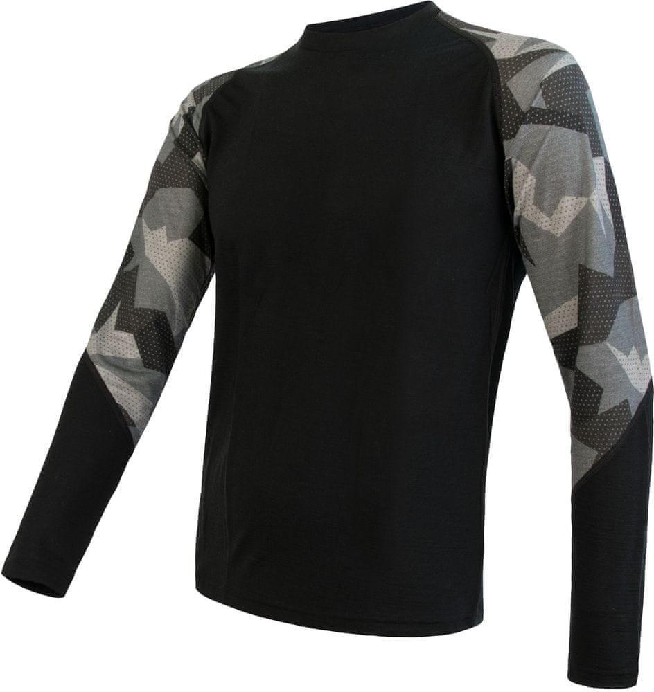 Sensor koszulka męska Merino Impress z długim rękawem czarna/Camo S