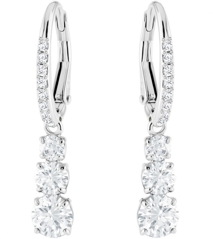 Swarovski Attract Trilogy Round Pierced Earrings, White, Rhodium plating White Rhodium-plated
