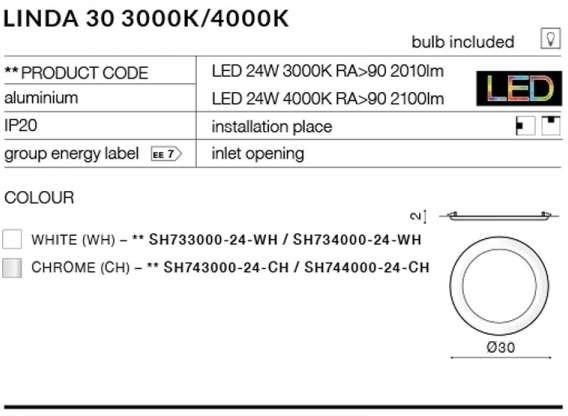 Azzardo Podtynkowa LAMPA sufitowa LINDA SH743000-24-CH minimalistyvzna OPRAWA metalowa LED 24W WPUST okrągły chrom SH743000-24-CH
