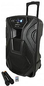 QTXsound Busker-15 nagłośnienie przenośne, kolumna mobilna, PA + 2 x VHF mics + USB/SD/FM/BT 178.868UK
