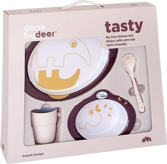 Done By Deer Naczynia dziecięce w zestawie Contour Tasty śliwkowe 15881