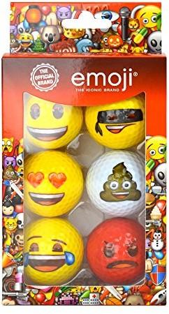 Emoji Zestaw szt. nowej Fun piłki do golfa dla dorosłych , Multicoloured, 6 EMGB001