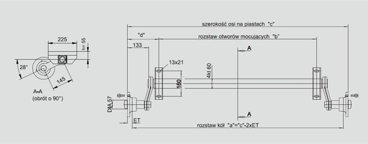 KNOTT Oś niehamowana do przyczepki KNOTT VG7 750 kg 1130 mm 6Y0001415.003