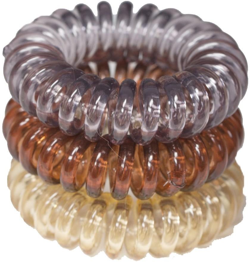 ronney RONNEY S18 MET funny ring bubble - Profesjonalne gumki do włosów 3 sztuki 3,5 cm -fioletowy, bursztynowy, brzoskwiniowy.