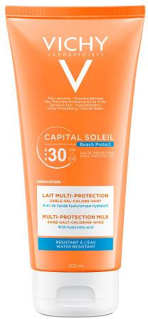 Vichy Capital Soleil Beach Protect SPF 30 mleczko ochronne Multi-Protection z kwasem hialuronowym 200 ml