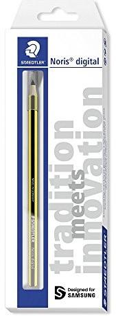 Staedtler Stylus Noris digital, zaprojektowany dla urządzeń marki SAMSUNG, forma sześciokątna, technologia EMR, aktywny design z paskiem Noris, ergonomiczna miękka powierzchnia, precyzyjna końcówka 0, 180 22-1