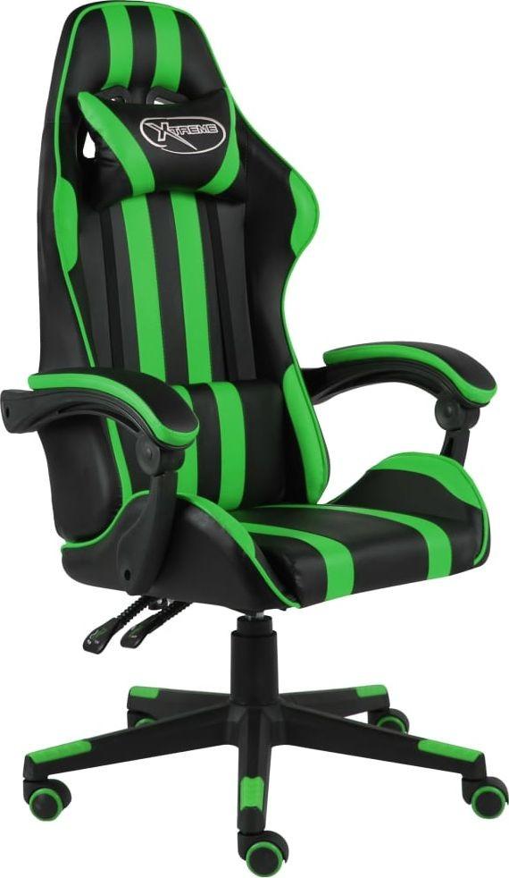 vidaXL Fotel dla gracza, czarno-zielony, sztuczna skóra (20521)