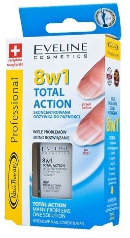 Eveline 8in1 Total Action Intensive Nail Hardener, wzmacniająca odżywka do paznokci, 12 ml