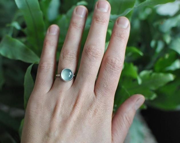 Mariaela Srebrny pierścionek z wodnym agatem