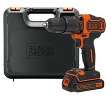 Black&Decker akumulatorowa wiertarko-wkrętarka udarowa, 18V Li-Ion 1x1,5Ah, Black+Decker [BDCHD18K-QW] BDCHD18K-QW