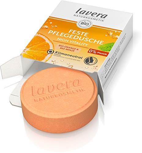 Lavera Feste Pflegedusche High Vitality - mit Bio-Orange und Bio-Minze - reinigt die Haut sanft, ohne sie auszutrocknen - 3x ergiebiger als flüssiges Duschgel - Naturkosmetik - 1 Stk / 50g 112724