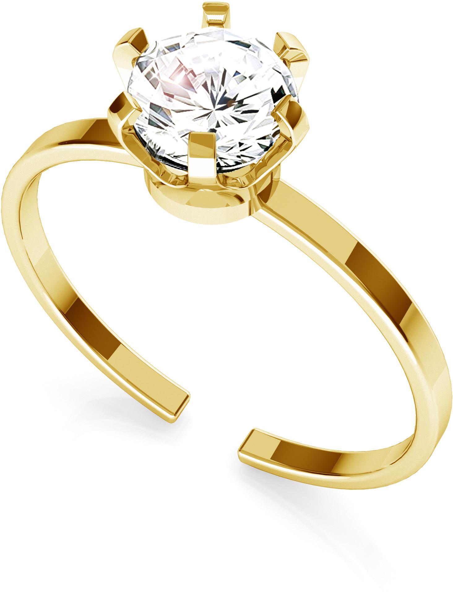 GIORRE Srebrny pierścionek z cyrkonią 6mm My RING 925 : Kolor pokrycia srebra - Pokrycie Żółtym 24K Złotem