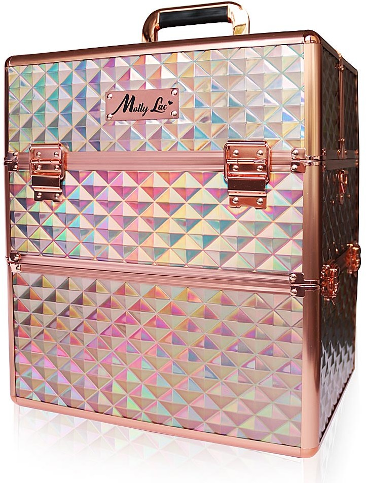 Vanity Kuferek Kosmetyczny XXL Dwuczęściowy z Kratą K107-6H Rose Gold K107-6H