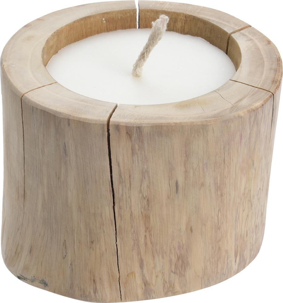 Home Styling Collection Duży świecznik z drewna tekowego ze świeczką 18 cm J11500030