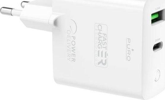 PURO Ładowarka Mini Fast Travel Charger Ładowarka sieciowa USB-A + USB-C Power Delivery 32W biały PUR411WHT