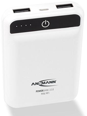 ANSMANN Ansmann Powerbank o pojemności 2porty USB i wskaźnik stanu LED/zewnętrzny dodatkowy akumulator idealnie nadaje się do iPhone'a iPad dodatkowe urządzenia/MFI, biały 1700-0090