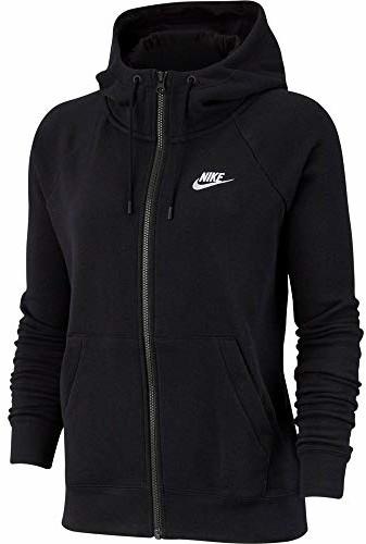 Nike Damska bluza Essential Hoodie Fz FLC z kapturem i zamkiem błyskawicznym na całej długości czarny czarny/(biały). L BV4122