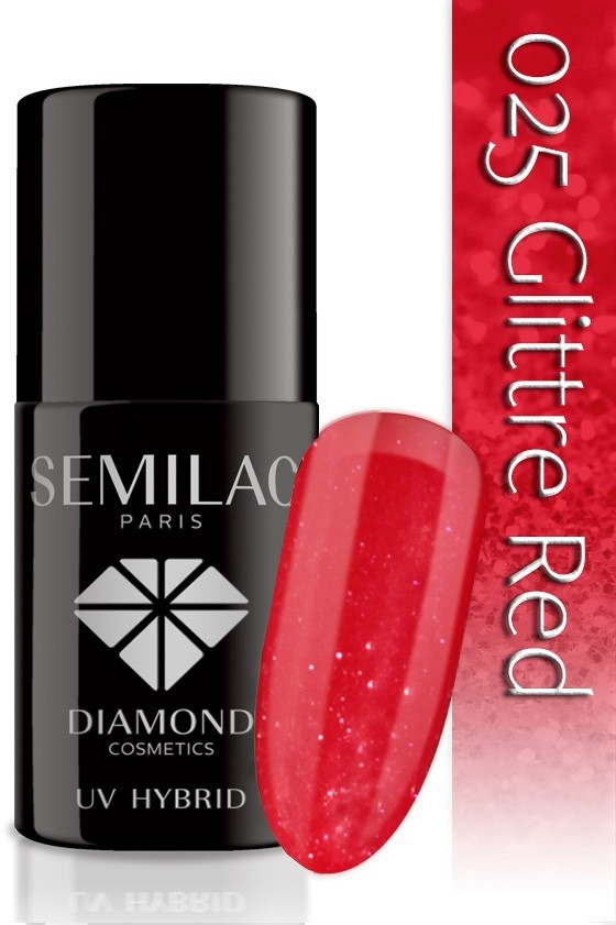 Semilac Lakier Hybrydowy Semilac 025 Glitter Red - 7 Ml 4739