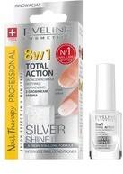 Eveline 8in1 Total Action, odżywka do paznokci z drobinkami srebra Silver Shine, 12 ml