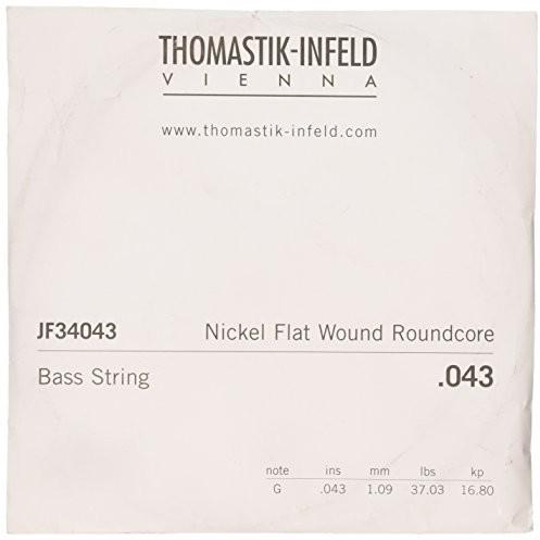 Thomastik pojedynczy sznurek G .043 okrągły stalowy rdzeń, nikiel płaski nawinięty długa skala 34 cale JF34043 do elektrycznego basu jazzu JF345, JF344, JF346 JF34043
