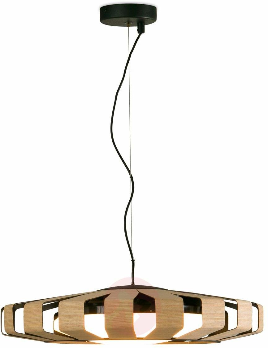 Lorefar Faro) Okrągła lampa wisząca LED Pauline z drewnem