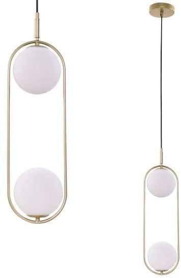 Candellux Lighting podwójna lampa wisząca złota CORDEL 32-73464 lampa sufitowa do jadalni klosze białe kule 32-73464