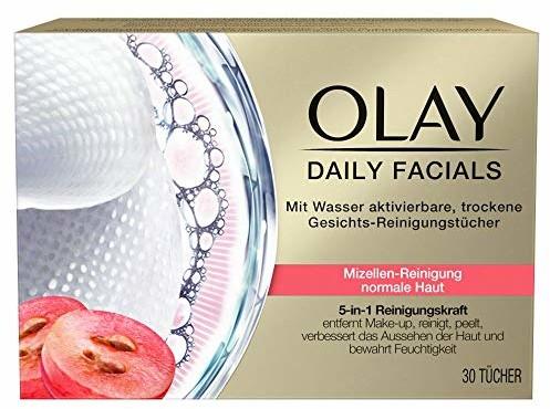 Olay Daily Facials 5 w 1 chusteczek do czyszczenia twarzy aktywowanych wodą, 30 chusteczek do czyszczenia skóry normalnej, pielęgnacja twarzy, chusteczki do demakijażu twarzy, peeling