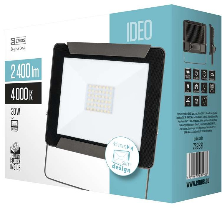 Emos Naświetlacz LED IDEO 30W Czarny ZS2631