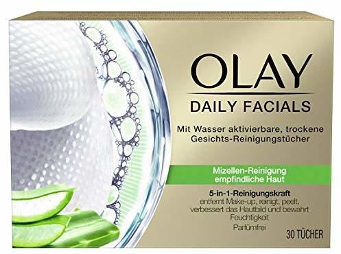 Olay Daily Facials 5-w-1 aktywowane wodą, suche chusteczki do oczyszczania twarzy, 30 chusteczek do czyszczenia micel, pielęgnacja twarzy, chusteczki do demakijażu, do oczyszczania twarzy, peelingu