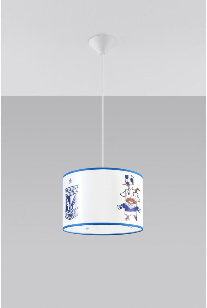 Sollux Lighting Lighting Oryginalna Oprawa Sufitowa Lampa Wisząca KKS LECH 30 Strefa Kibica Zwis E27 Abażur Biały Niebieski Pokój Dziecięcy Nowoczesne Oświetlenie SL.0724
