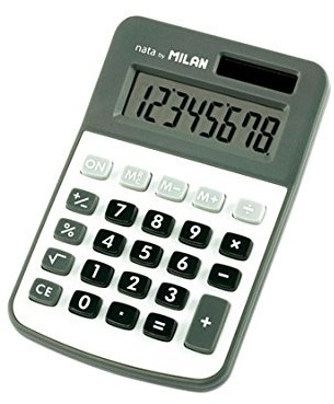 MILAN 150208obl kalkulator, 8 liniowy wyświetlacz, szary/biały 150808GBL