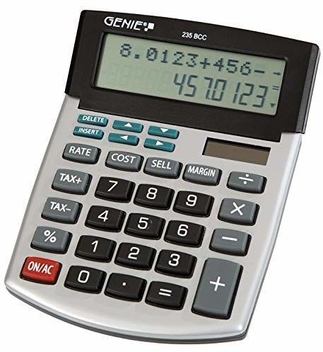 Genie 235 BCC 12-poziomowym Business-kalkulator biurkowy (Dual-Power (Solar i bateria), łącznie z centrum przetwarzania danych drogą wyświetlania) srebrny/szary 235 BCC