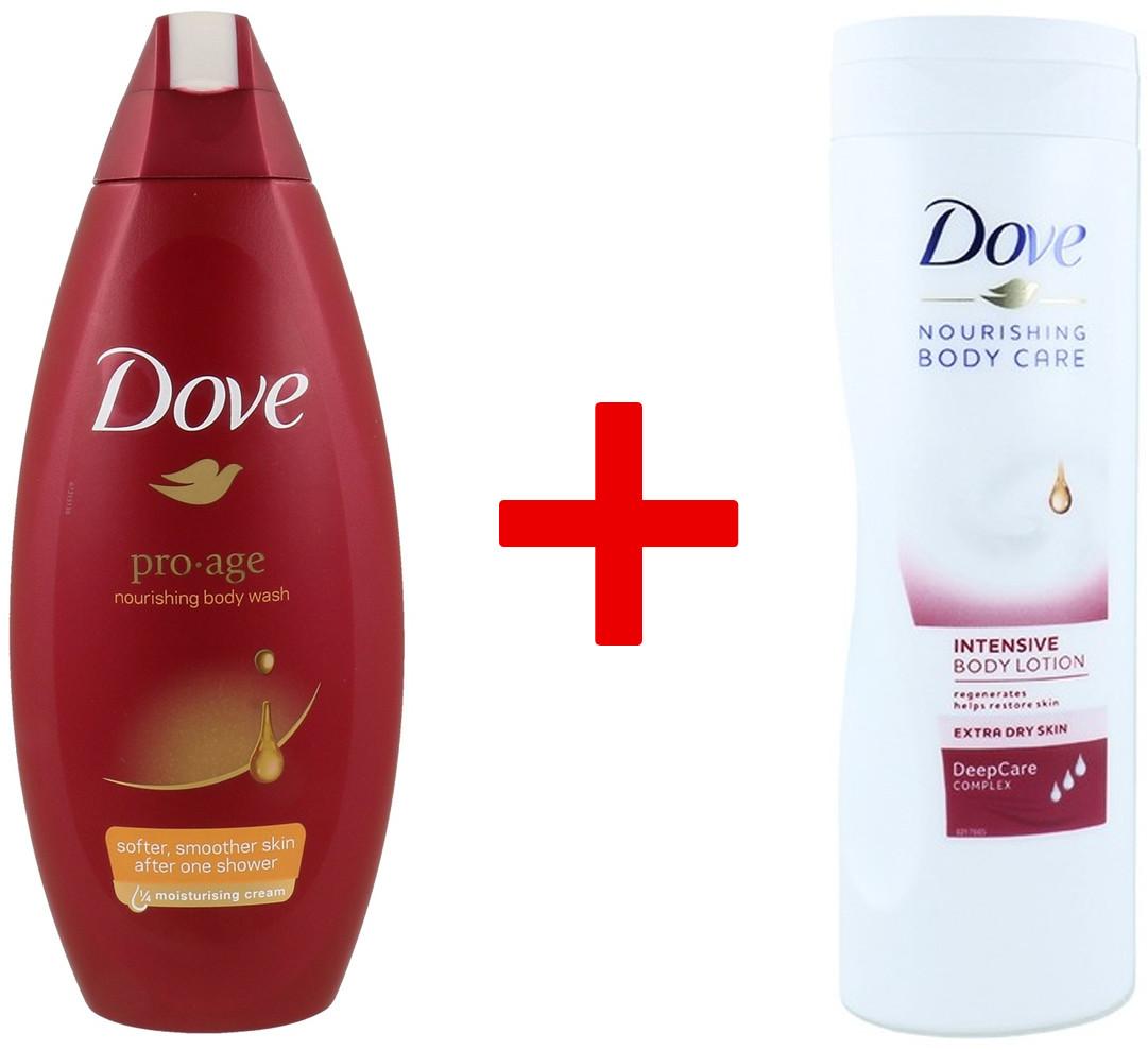 Dove 1+1 Body Wash Żel Pod Prysznic Pro Age 250ml + Balsam Do Ciała Intensive DeepCare Complex 400ml