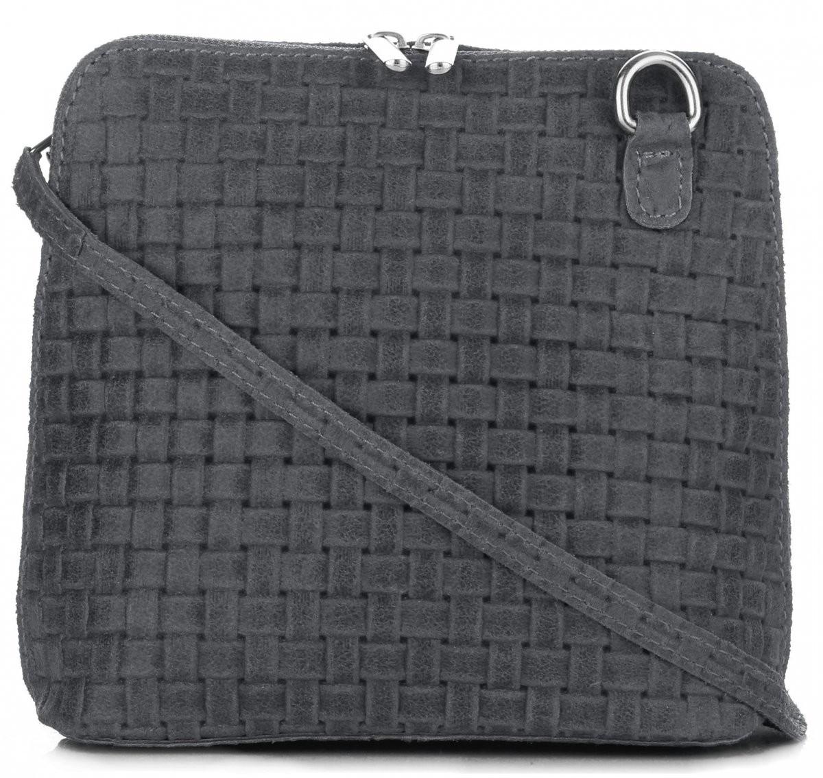 72389094 Genuine Leather Torebki Skórzane Małe Włoskie Listonoszki na co Dzień firmy  Grafitowe (kolory) A7graf