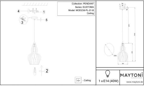 Maytoni LAMPA wisząca EUSTOMA MOD238-PL-01-B Maytoni szklana OPRAWA zwis przydymiony MOD238-PL-01-B
