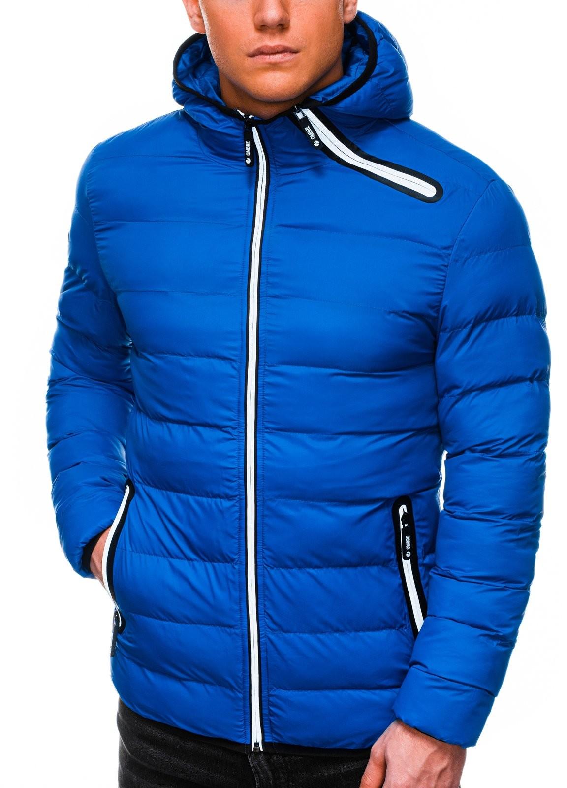 Ombre Kurtka męska zimowa pikowana C451 - niebieska