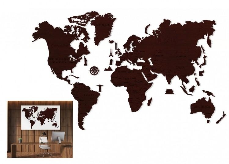 WOODEN-CITY Drewniane puzzle 3D Wooden.City Mapa Świata XXL Dark Oak #T1