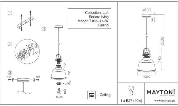 Maytoni LAMPA wisząca IRVING T163-11-R Maytoni industrialna OPRAWA szklany ZWIS loft bursztynowy T163-11-R