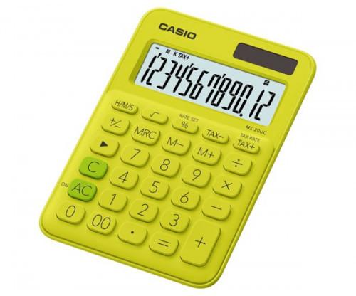 Casio MS-20uc-YG kalkulator biurkowy w modnym kolorze, 12-cyfrowy wyświetlacz LC-wyświetlacz z centrum przetwarzania danych za pomocą polecenia-wyświetlania, żółty MS-20UC-YG