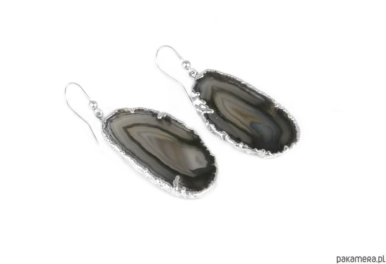 Earrings Agat Druza Plastry Czarne srebro