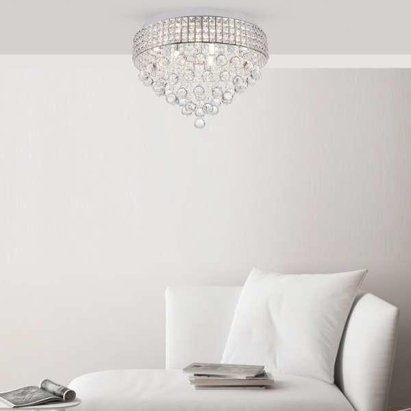 Zuma Line Glamour LAMPA szklana CAPRI 19027-M sufitowa OPRAWA okrągły PLAFON z kryształkami srebrny przezroczysty 19027-M